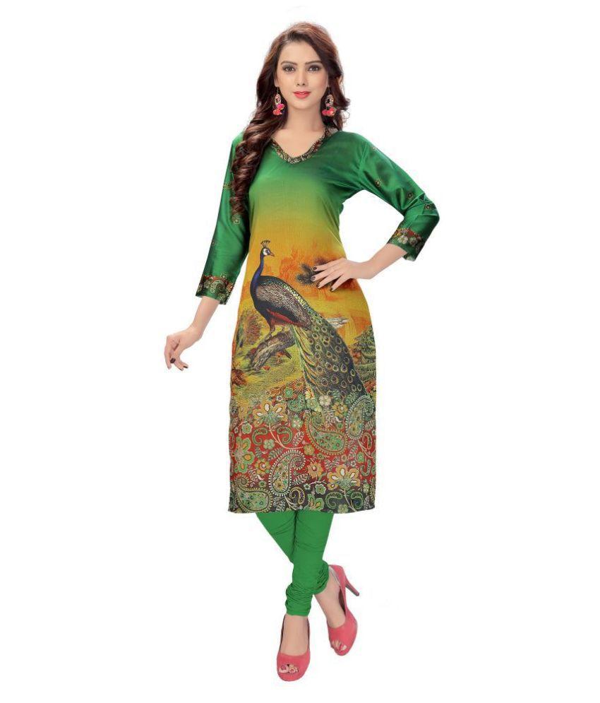 Venisa Green Cotton Silk Straight Kurti