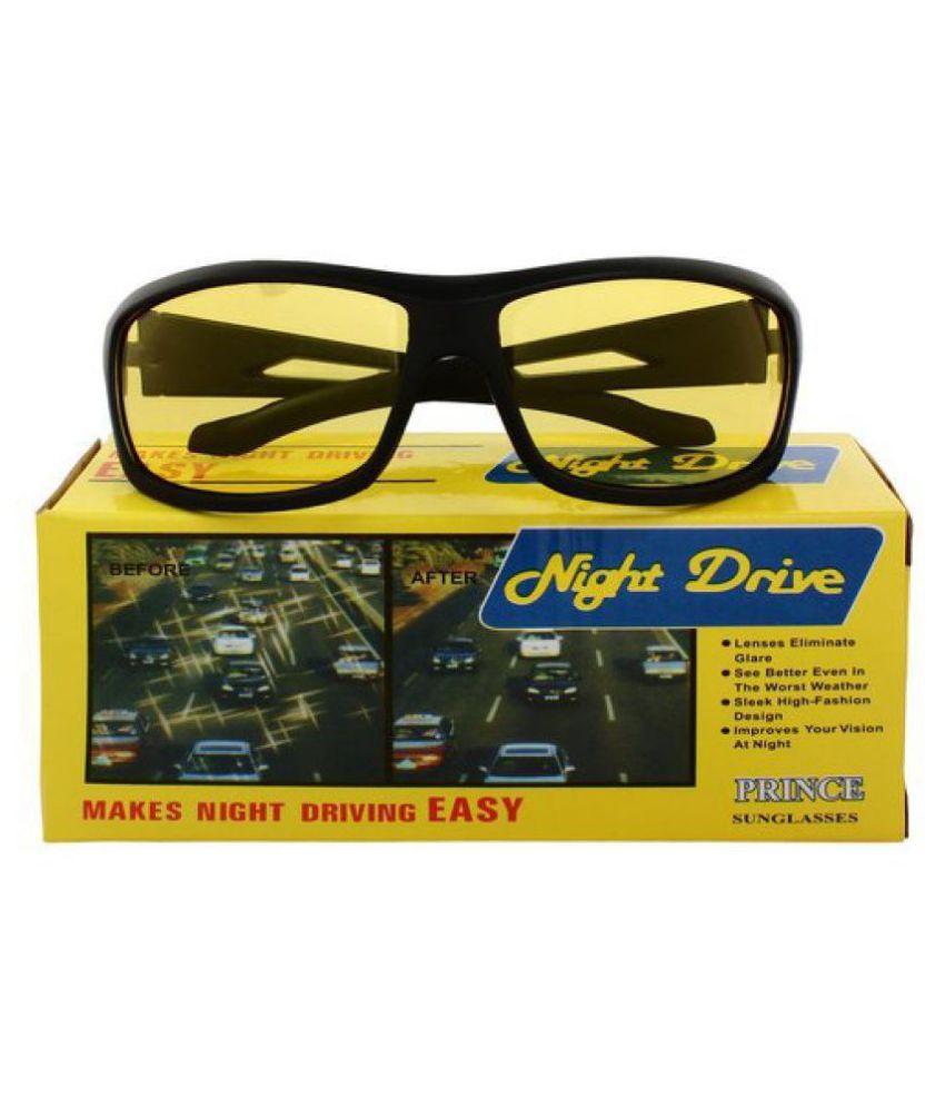 Synbus Black Frame Yellow Shade Lense Night Vision Biker Sportsglasses for Men & Women  WITH YELLOW BOX PACKING \n