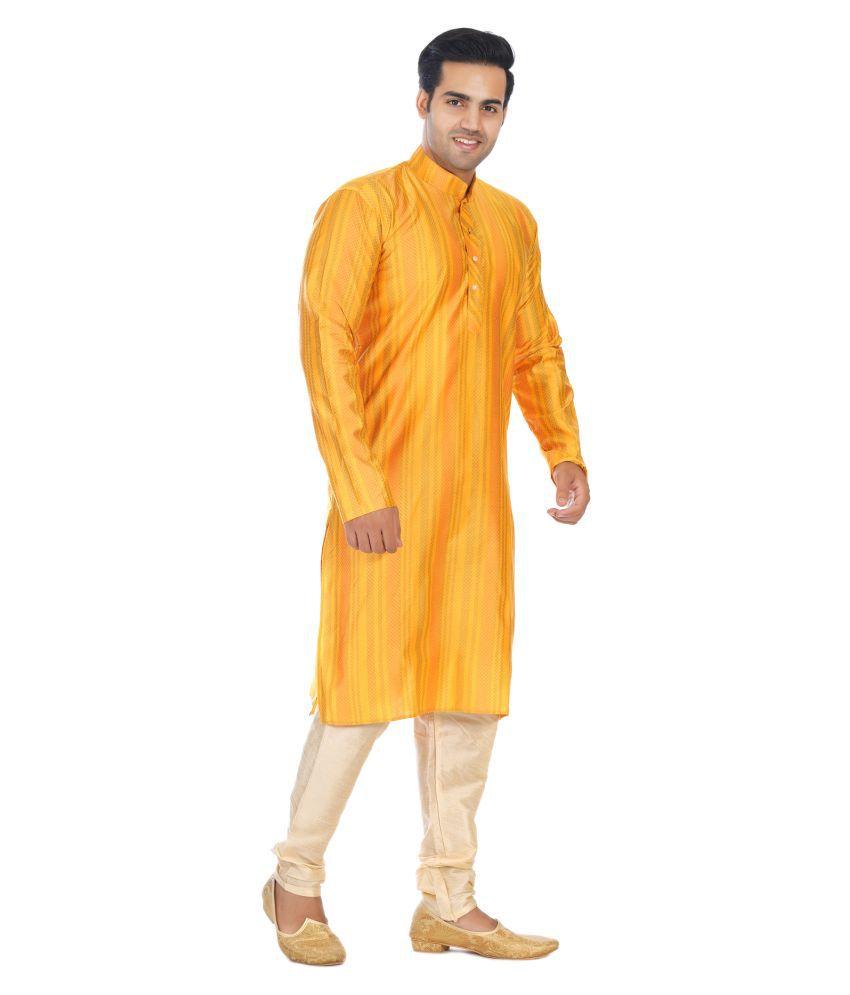 Bhartiya Yellow Silk Blend Kurta Pyjama Set