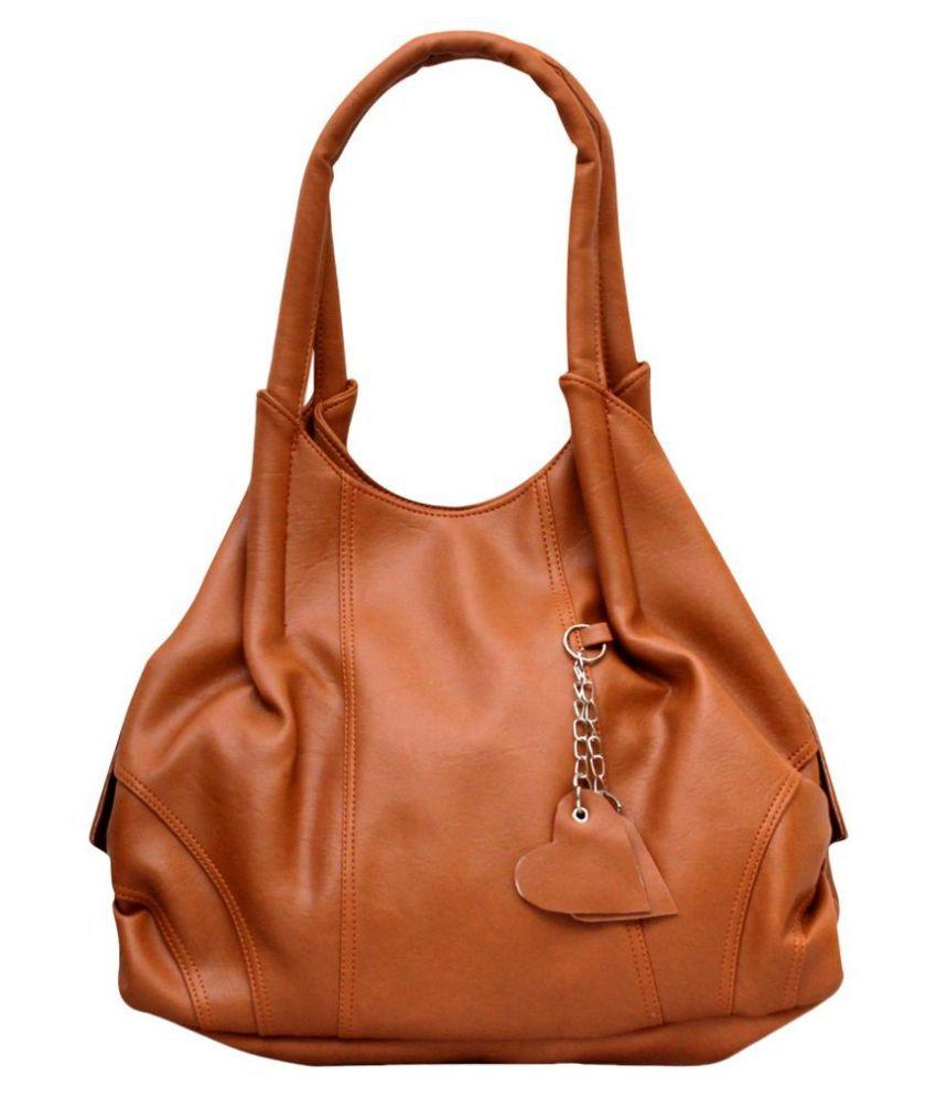 Fostelo Tan Faux Leather Shoulder Bag