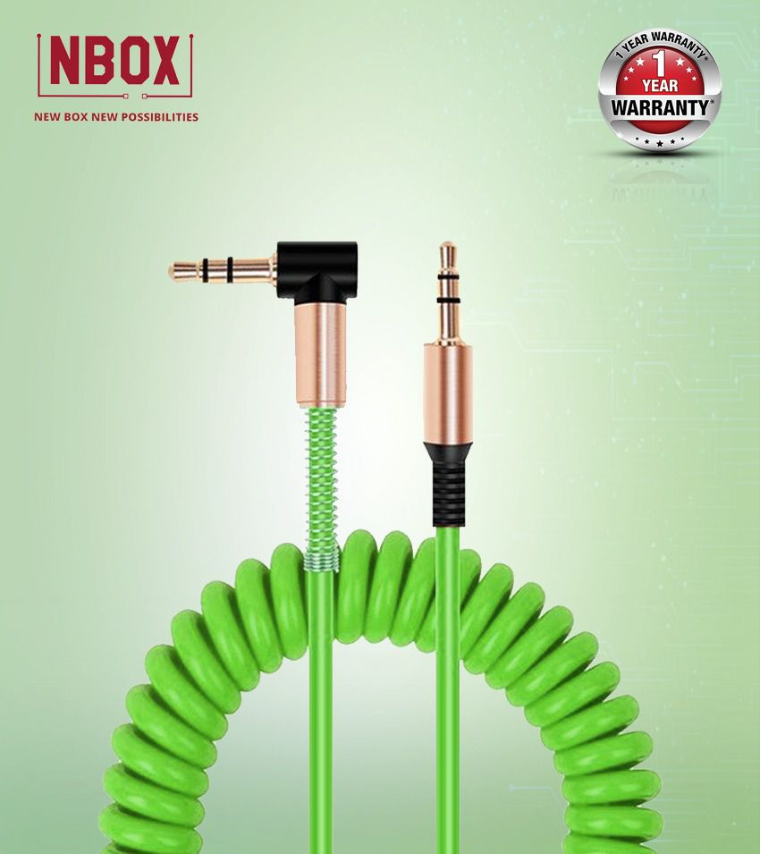NBOX Stereo Audio Aux Cable with Gold Plated Connectors - 1 Meter, Green