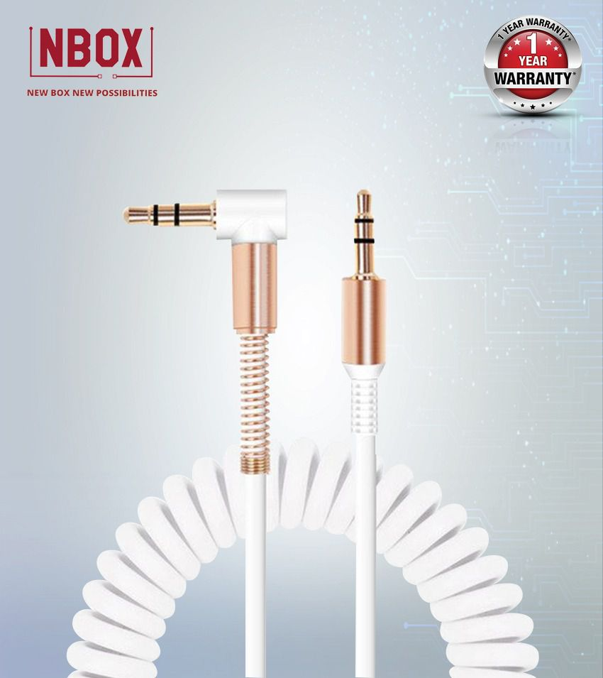 NBOX Stereo Audio Aux Cable with Gold Plated Connectors - 1 Meter, White