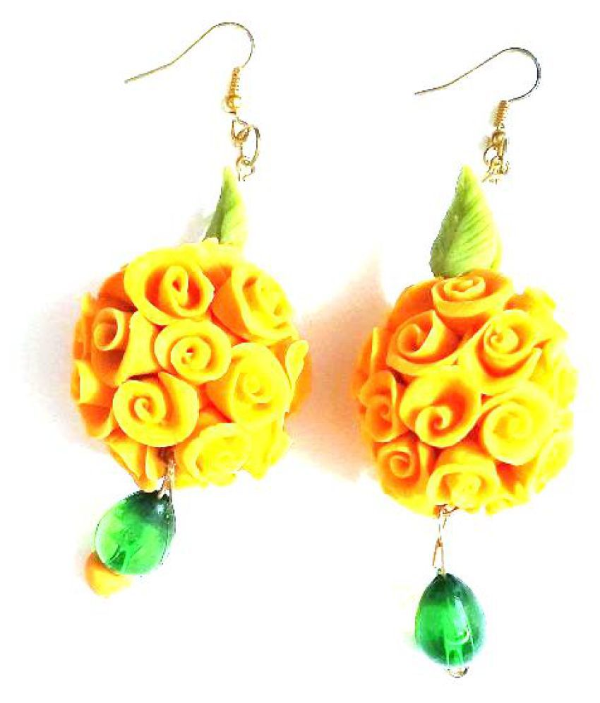 Unique Indian Crafts Handmade Artifical Jewellery  Multi-colour drop flower  earring