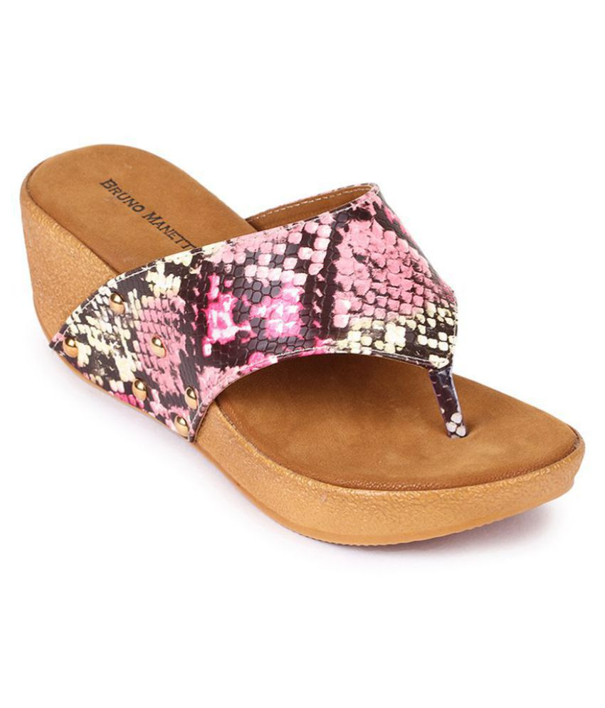 Bruno Manetti Pink Wedges Heels