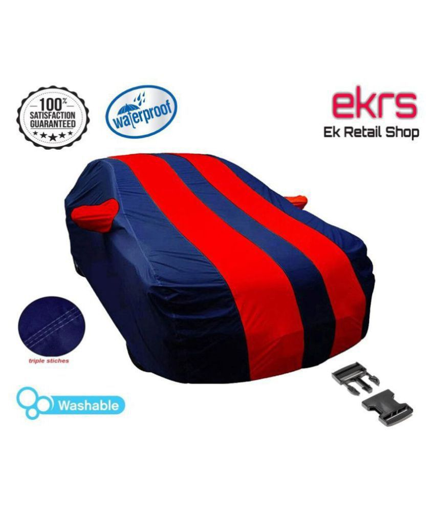EKRS Car Body Covers For Honda Amaze VX i-DTEC with Mirror Pockets, Triple Stitching & Light Weight (Navy Blue & RED Color)