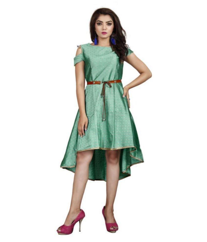 Shital Fashion World Crepe Green A- line Dress
