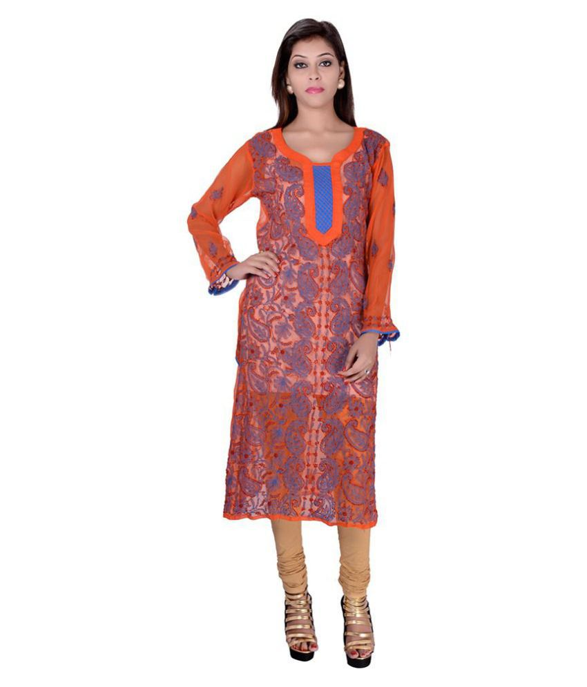 Apratim Orange Georgette Anarkali Kurti