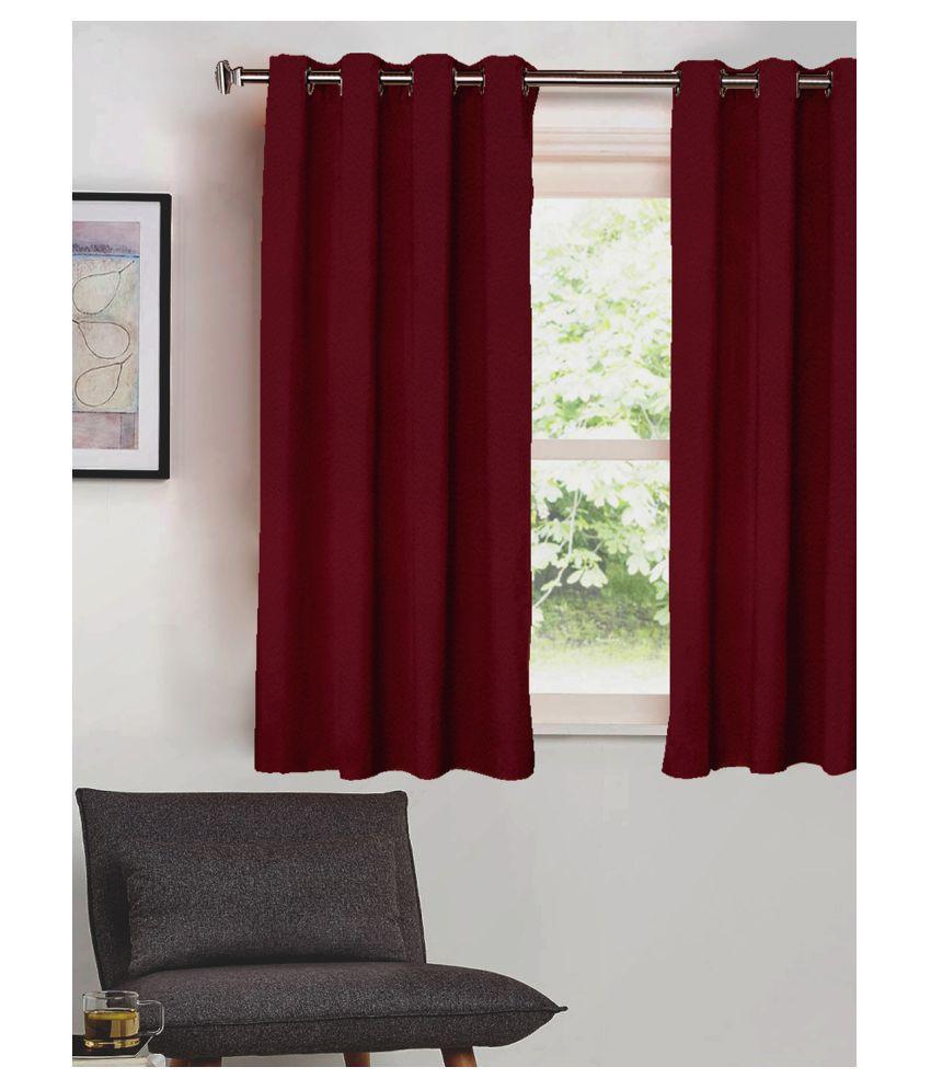 SHIVANAA HOMES Single Window Blackout Room Darkening Eyelet Polyester Curtains Burgundy