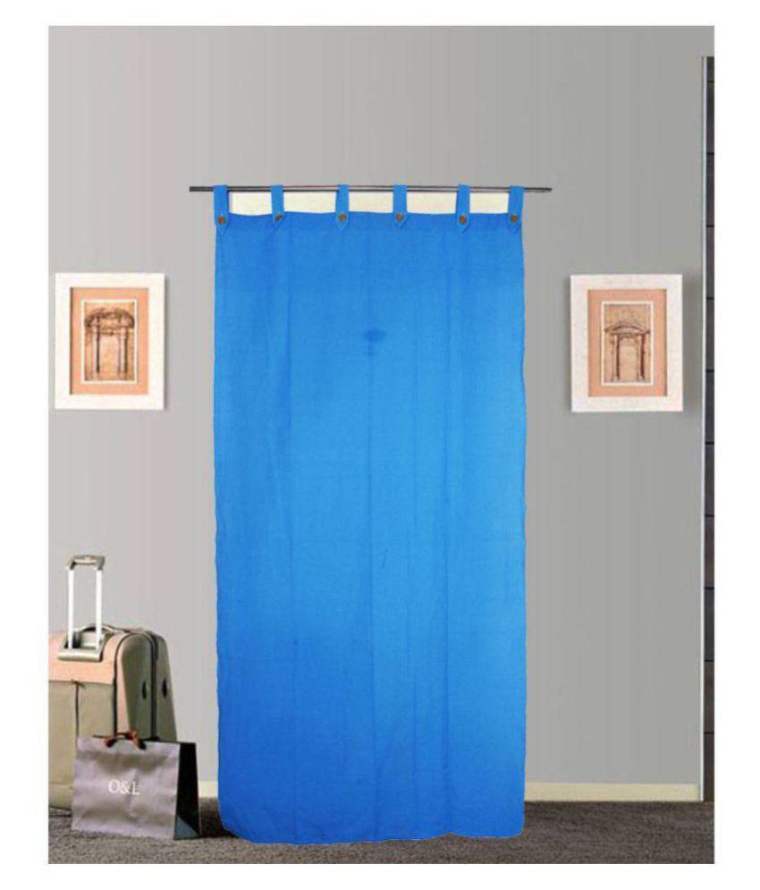 Tidy Single Door Tab Top Cotton Curtains Blue
