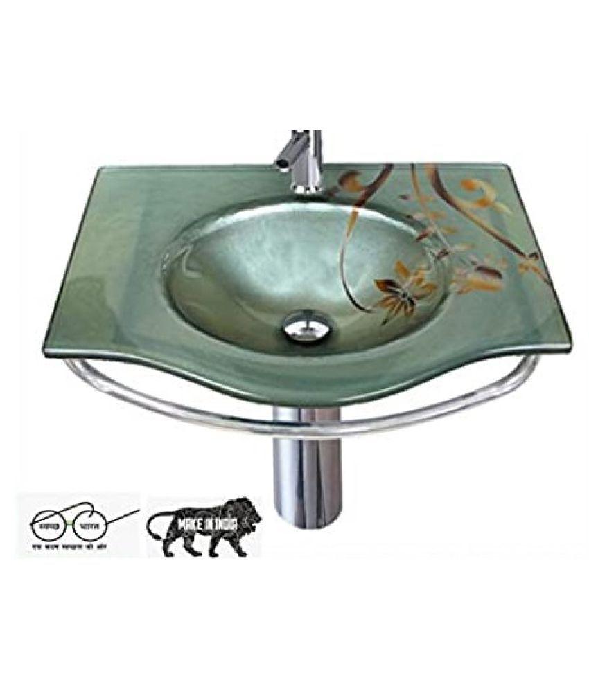 ARVIND SANITARY PVT LTD Grey Toughened Glass Wall Hung Wash Basins