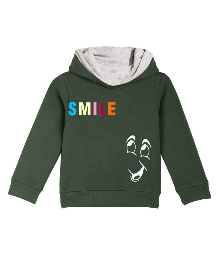 Naughty Ninos Girls Green Printed Hooded Sweatshirt