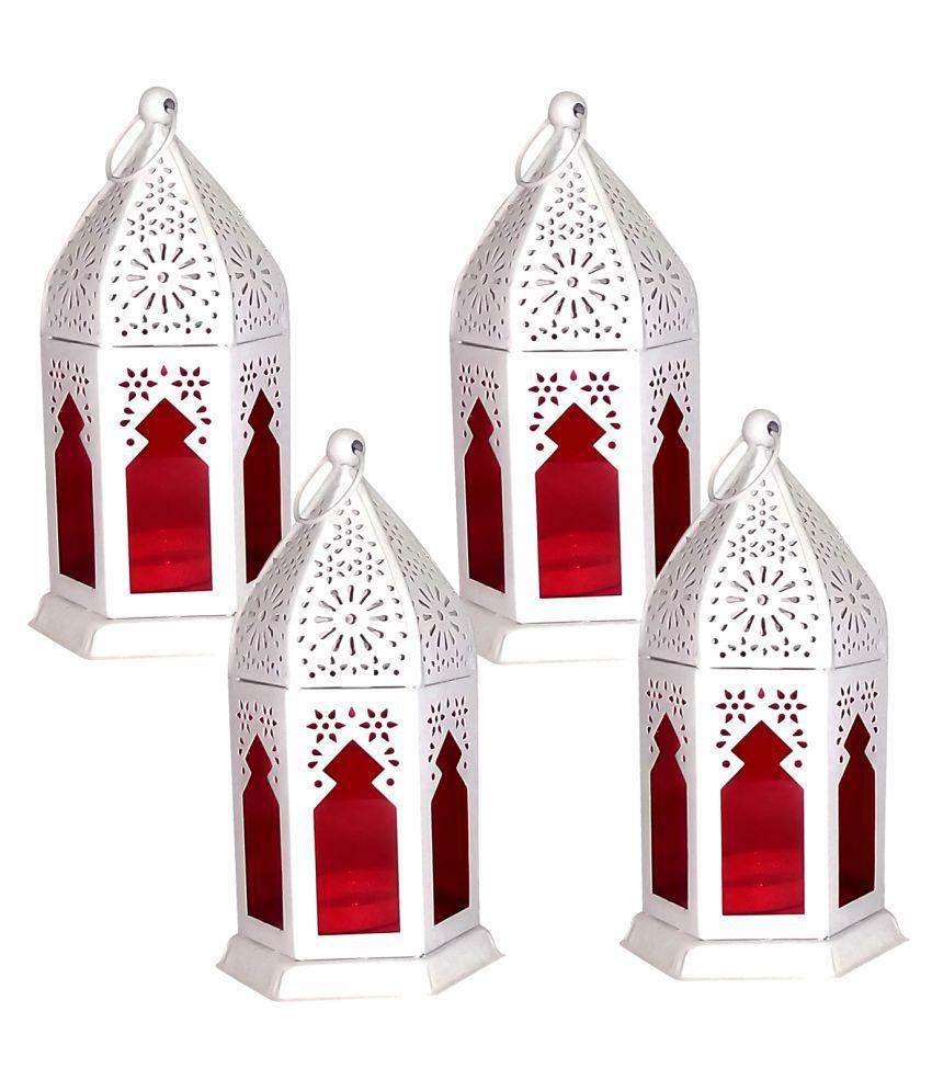designer international WHITE LANTERN WITH RED GLASS Hanging Lanterns 17 - Pack of 4