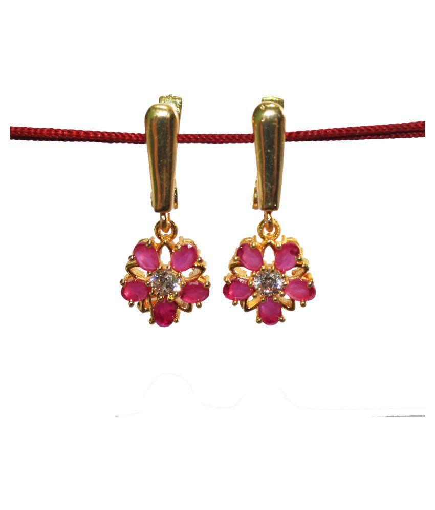 Bhanu gems Brass Gold imitation stone  Earring