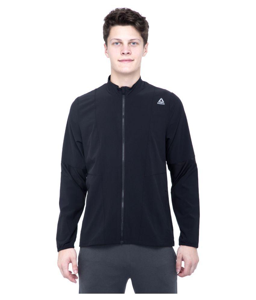 Reebok Black Polyester Viscose Terry Jacket