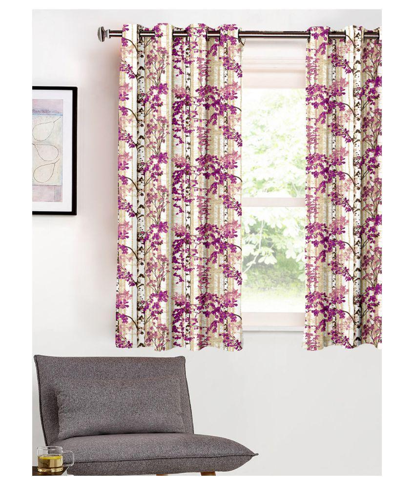 SHIVANAA HOMES Single Window Blackout Room Darkening Eyelet Polyester Curtains Purple