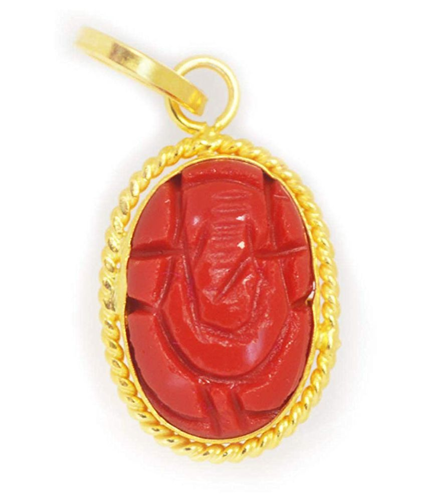 A1 Gems 11.25 Ratti 10.42 Carat A+ Quality Coral Gemstone Lord Ganesha Pendant For Men and Women's