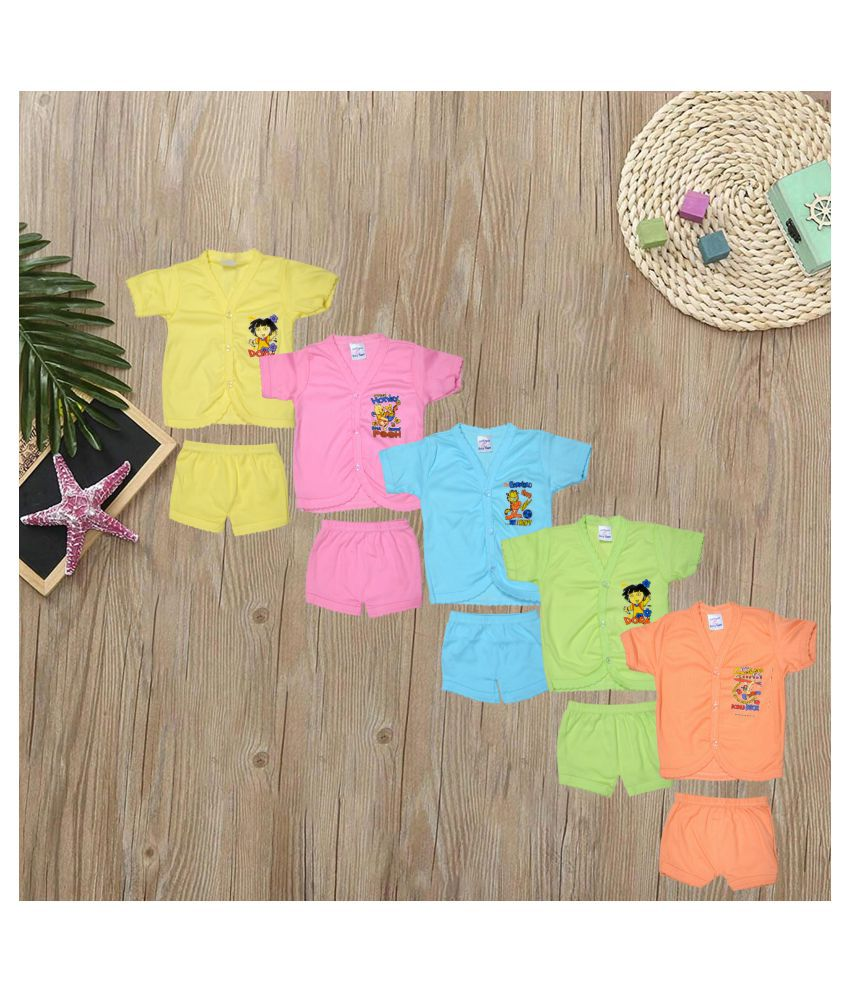 Cool Baby Cotton Shirts and Shorts (COOL-004, Multicolour, 0 - 6 Months, Set of 5)