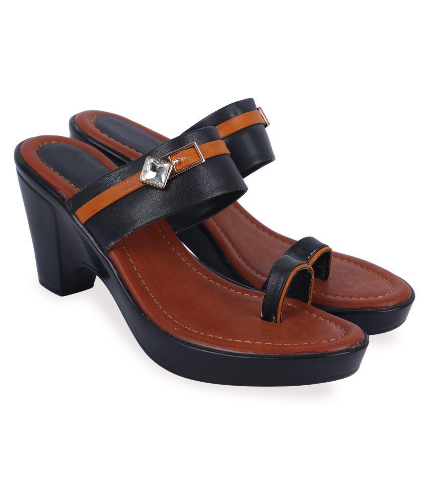 Mohini Steps Black Block Heels