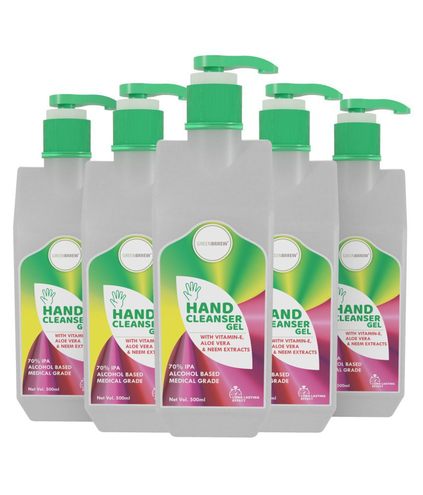 Greenbrrew Hand Cleanser Sanitizer Gel 70% IPA Alcohol With Vitamin-E, Aloe Vera & Neem Extract, 500ml (Pack of 5)