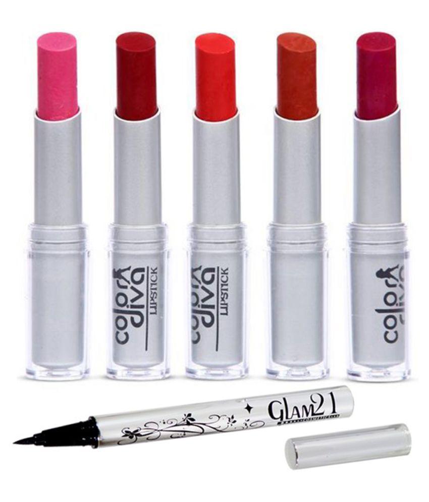 Adbeni Lipstick & Eyeliner Women  Makeup Set, (GC885) Facial Kit 25 g Pack of 6