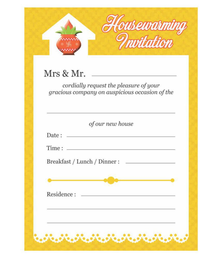 Grahapravesam/ House Warming Themed Pack of 30 cards- Fill in Style