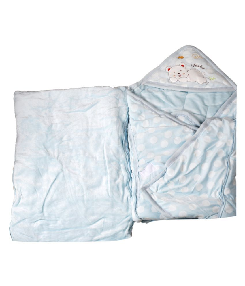 dorokids Blue Fleece Baby Wrap cum blanket ( 30 cm × 30 cm - 1 pcs)