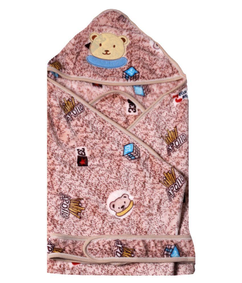 dorokids Brown Fleece Baby Wrap cum blanket ( 30 cm × 30 cm - 1 pcs)