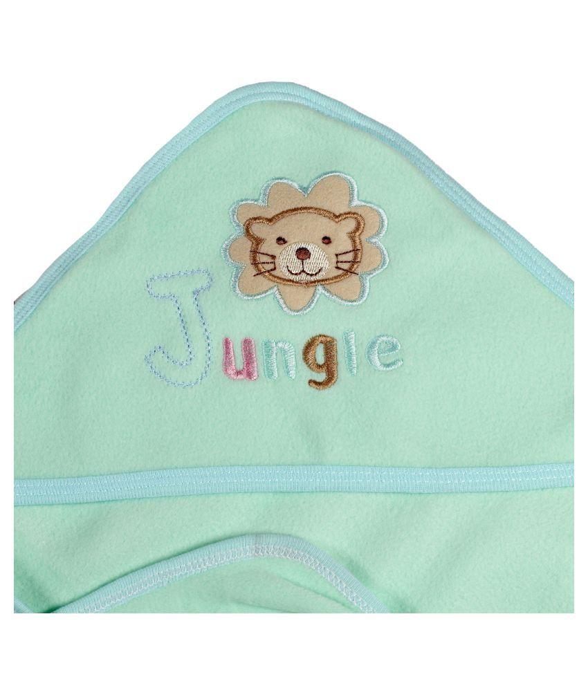 dorokids Green Fleece Baby Wrap cum blanket ( 30 cm × 30 cm - 1 pcs)