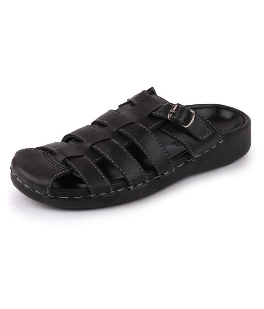 Fausto Black Synthetic Leather Sandals
