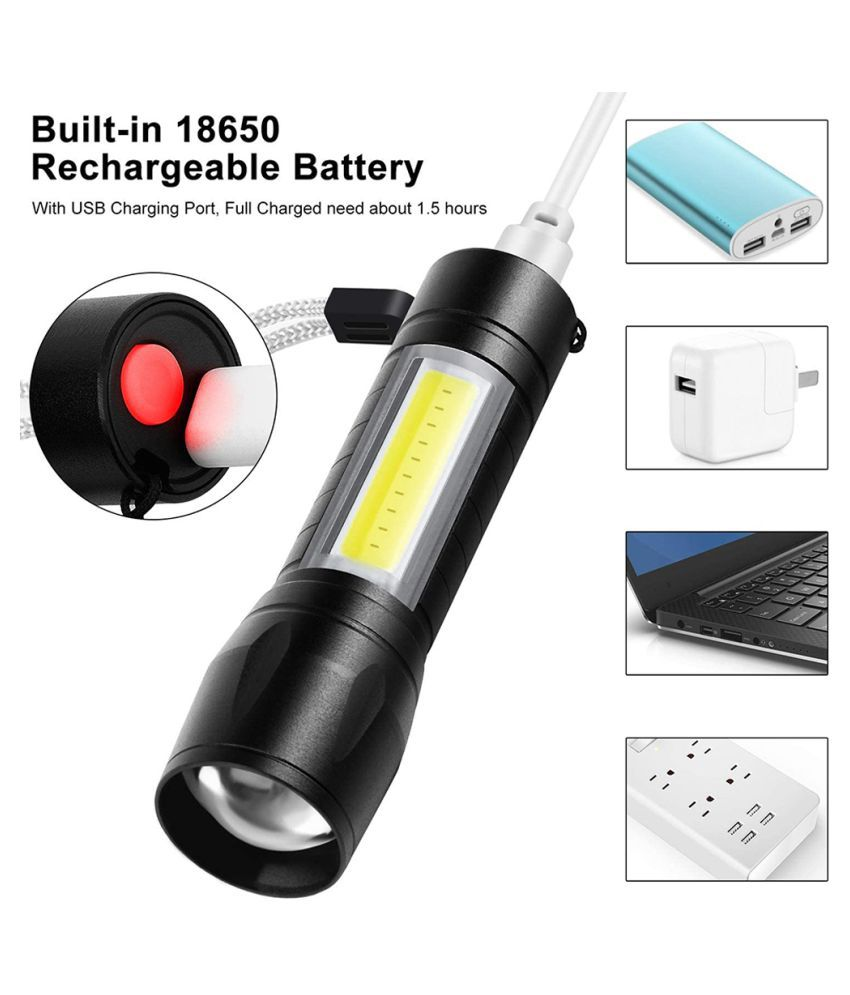 FD Rechargeable 3 Modes Adjustable Mini USB LEDZoom Torch 7W Flashlight Torch 400M Long RangeTorch - Pack of 1