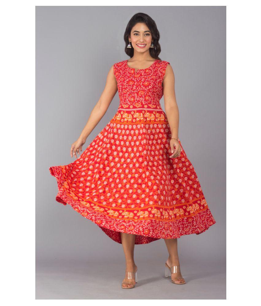 Urbanera Cotton Orange A- line Dress