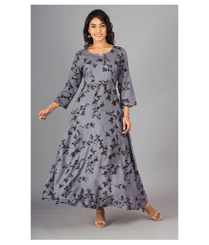Urbanera Rayon Grey A- line Dress