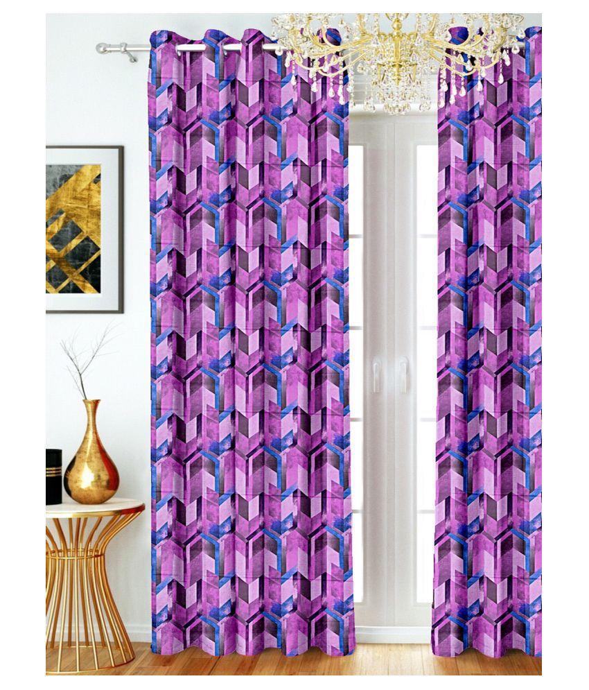 SHIVANAA HOMES Single Door Blackout Room Darkening Eyelet Polyester Curtains Purple