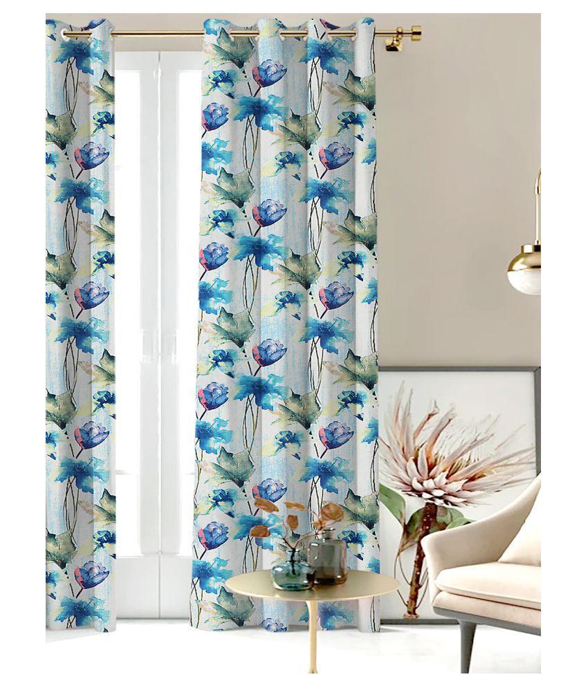 SHIVANAA HOMES Single Door Blackout Room Darkening Eyelet Polyester Curtains Blue