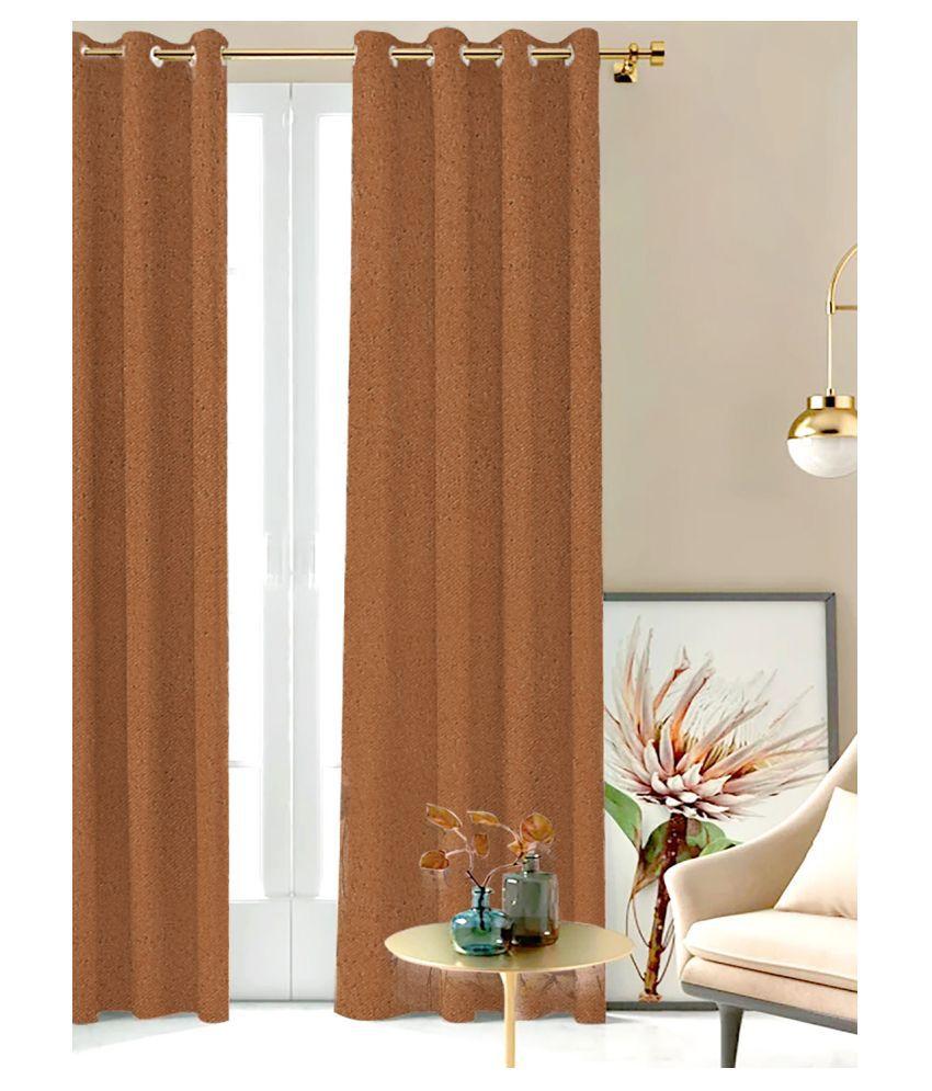 SHIVANAA HOMES Single Long Door Blackout Room Darkening Eyelet Polyester Curtains Brown