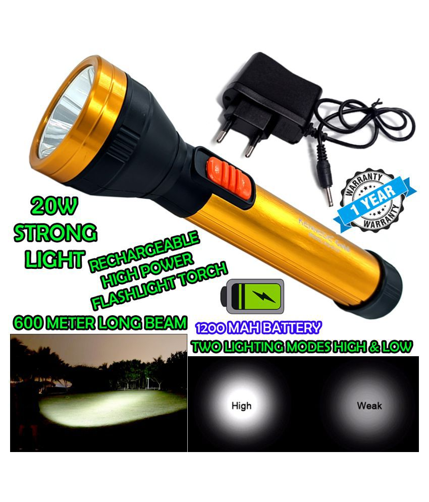 P Powerful 2 Mode 600 Meter Range Rechargeable Waterproof LED ABS Body Security 20W Flashlight Torch Outdoor Search Light - Pack of 1