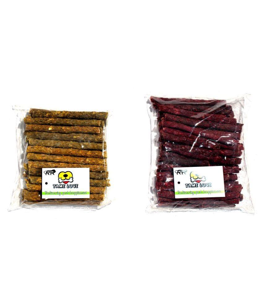 Tame Love Combo High Protien Dog Chew Munchy Sticks - Chicken (500g) Mutton (500g) - (Pack of 2)