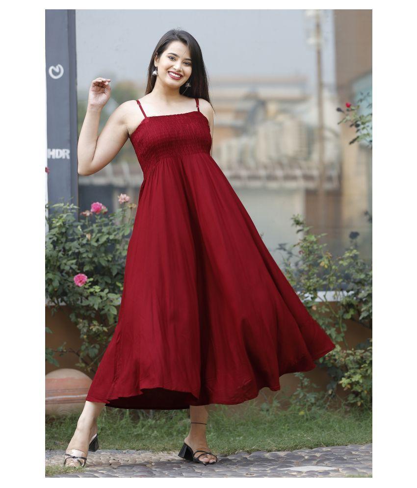 ZAMAISHA Rayon Maroon Fit And Flare Dress