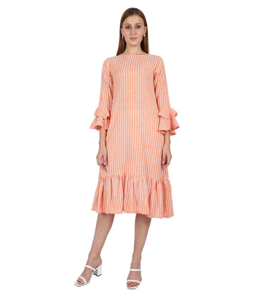 Leofab Cotton Orange A- line Dress