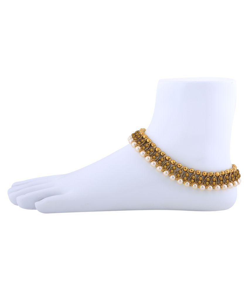 Antique Golden Kundan Anklet for Women And Girl