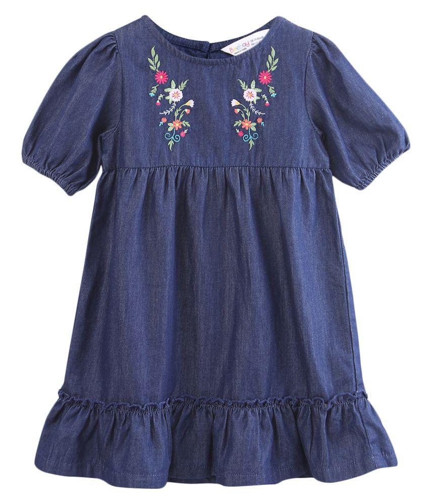 Floral Embroidered Denim Dress Blue 18-24M