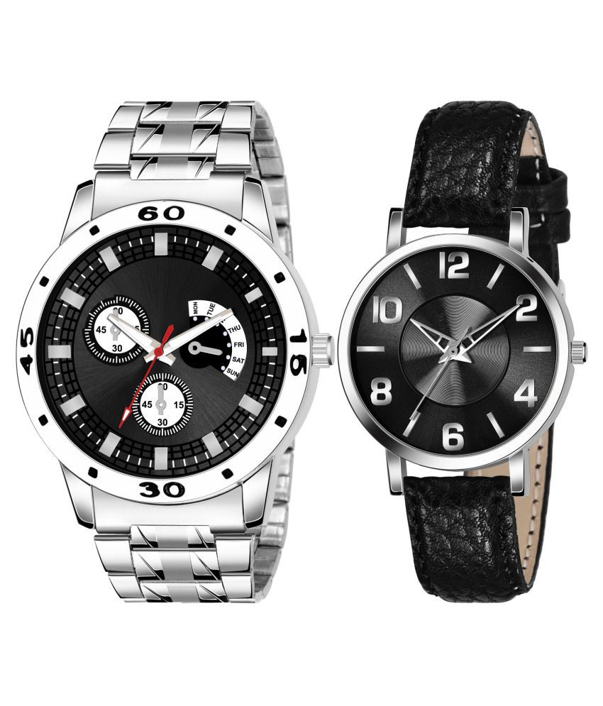 HENCY BLACK NEW ARRIVAL COUPLE ANALOG QUARTZ WATCH FOR MEN AND WOMEN