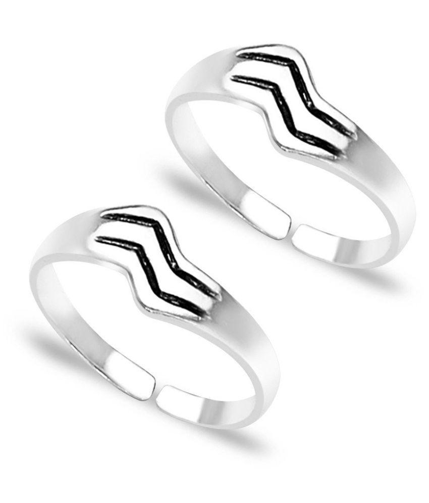 Stripes Silver Toe Rings- TR216