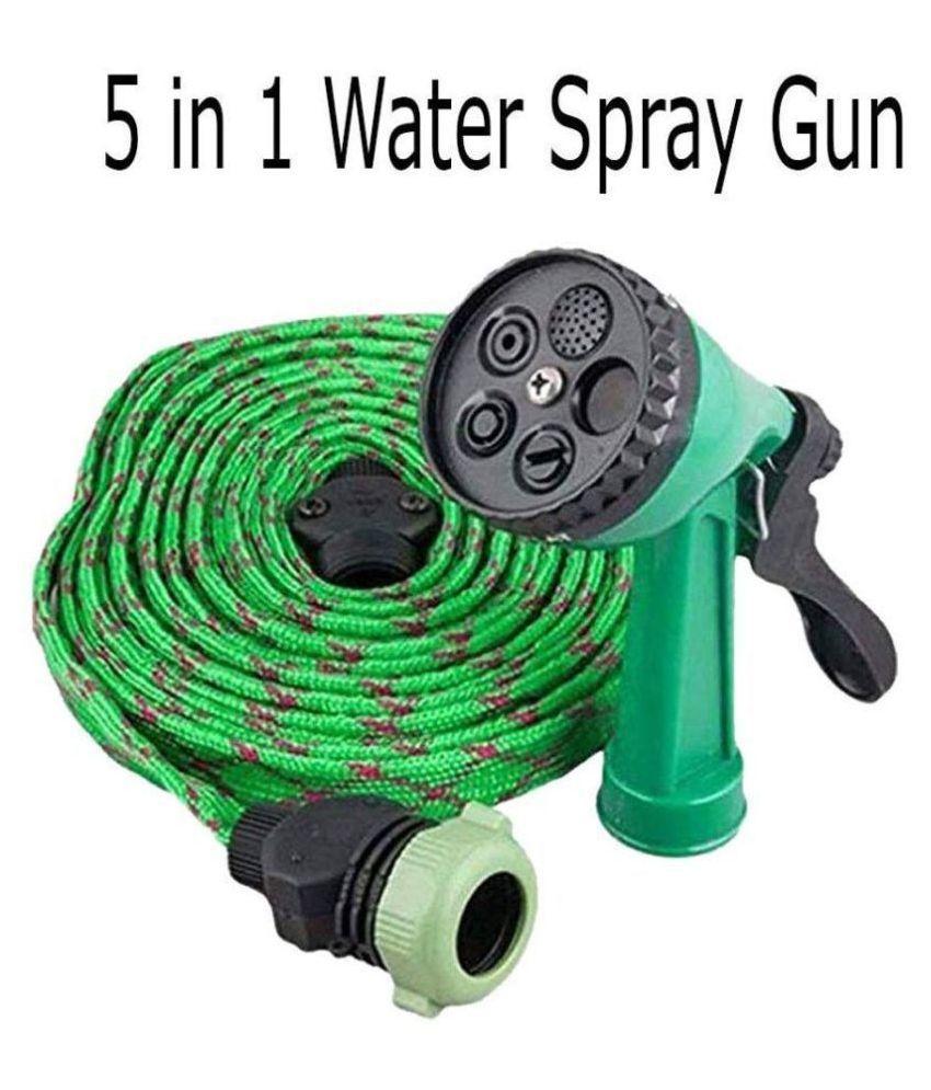 Water Spray Gun 5 Mode With 10 Meter Hose Pipe For Garden Green Garden Pipe