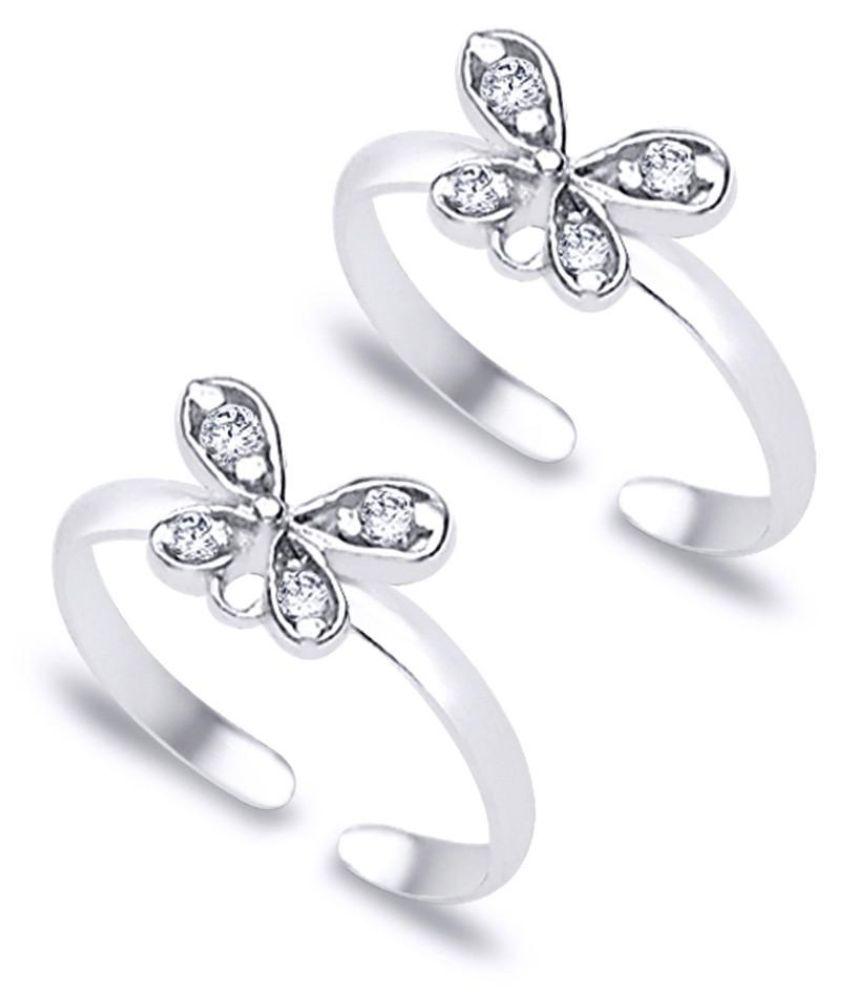 White Zircon Butterfly Silver Toe Rings-TR154