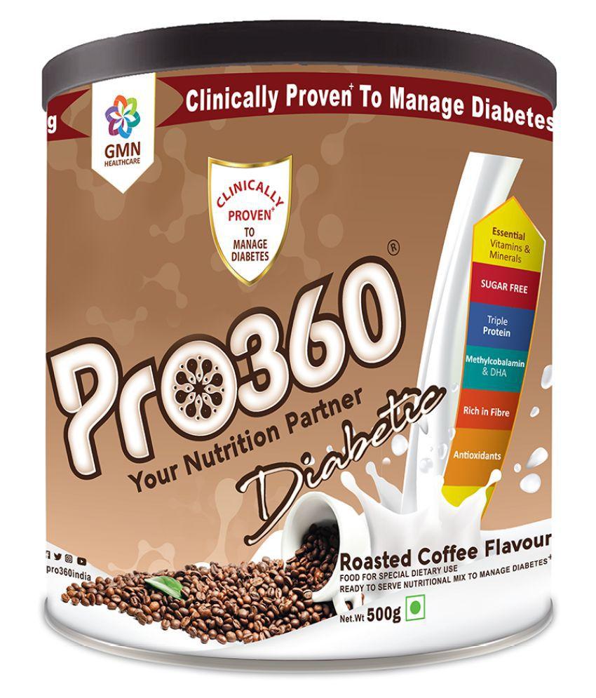 PRO360 Diabetic Protein RoastedCoffee Health Drink Powder 500 gm