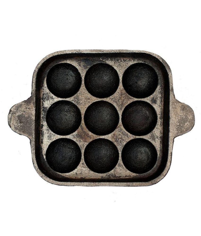The Indus Valley Cast Iron Paniyaram No Coating Iron Chetty Pan 24 cm mL