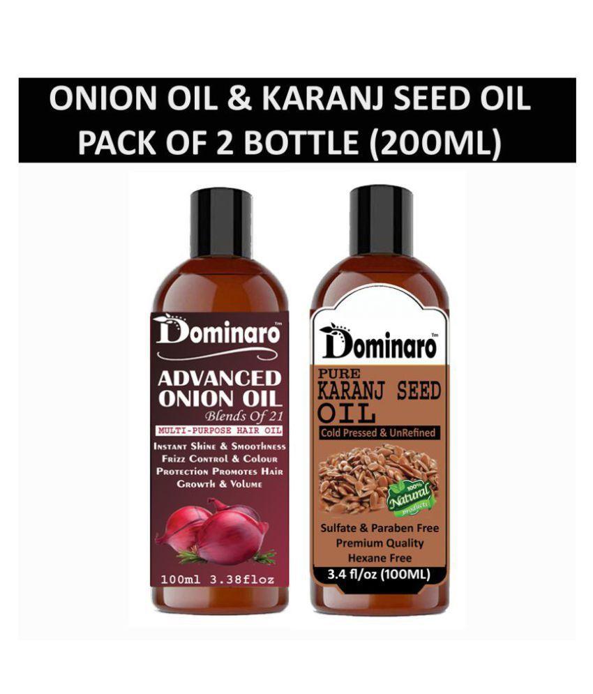 Dominaro 100% Pure Onion Oil Karanseed Oil 200 mL Pack of 2