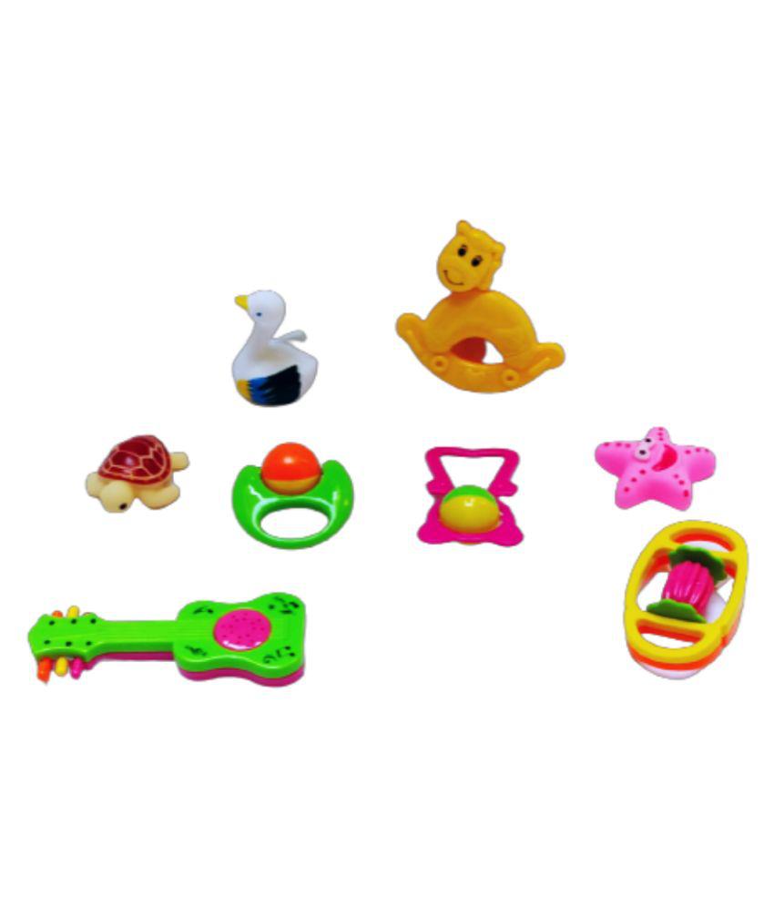 AURAPURO 8 Pcs Combo Pack of Rattles, and Chu Chu Animal Shape Bath Toys Non Toxic BPA Free Set for Babies, Infants multicolour Premium Quality