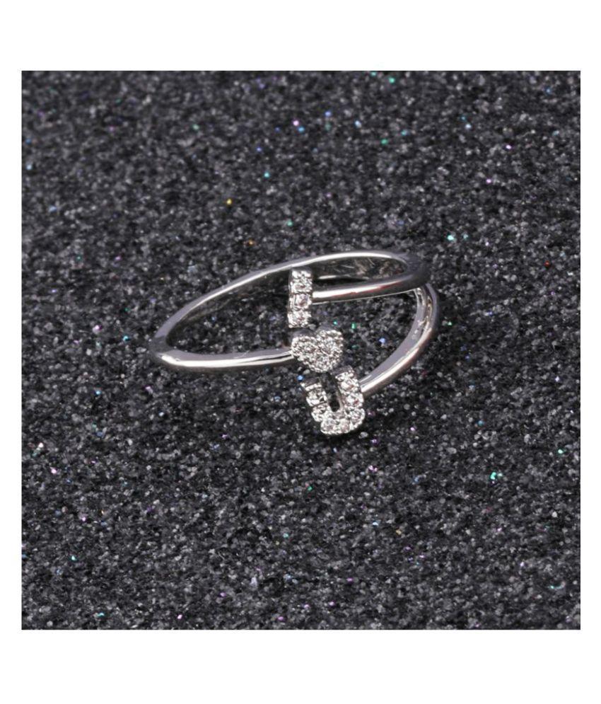 Silver Shine Silver Plated Adjustable Ring ILU Designer For Women Girl